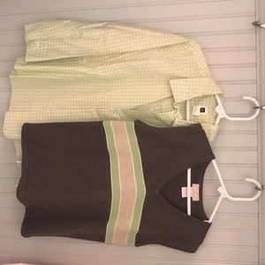 Tea / Malina Matching Sets - Boys button down with matching v-neck sweater vest